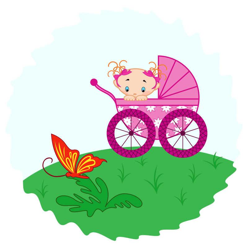 草地上粉红色婴儿车里的婴儿在看蝴蝶卡通手绘插图