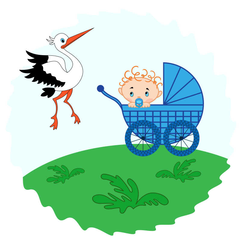 草地上婴儿车里的婴儿和一只白鹤手绘插图