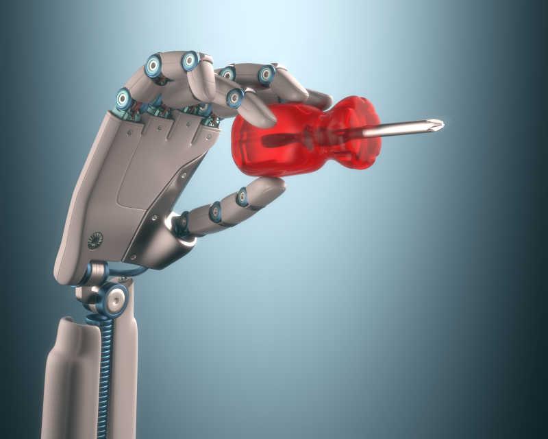机器人手上握着螺丝刀