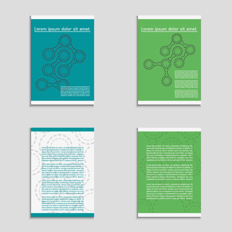 矢量虚线抽象几何结构的宣传海报模板