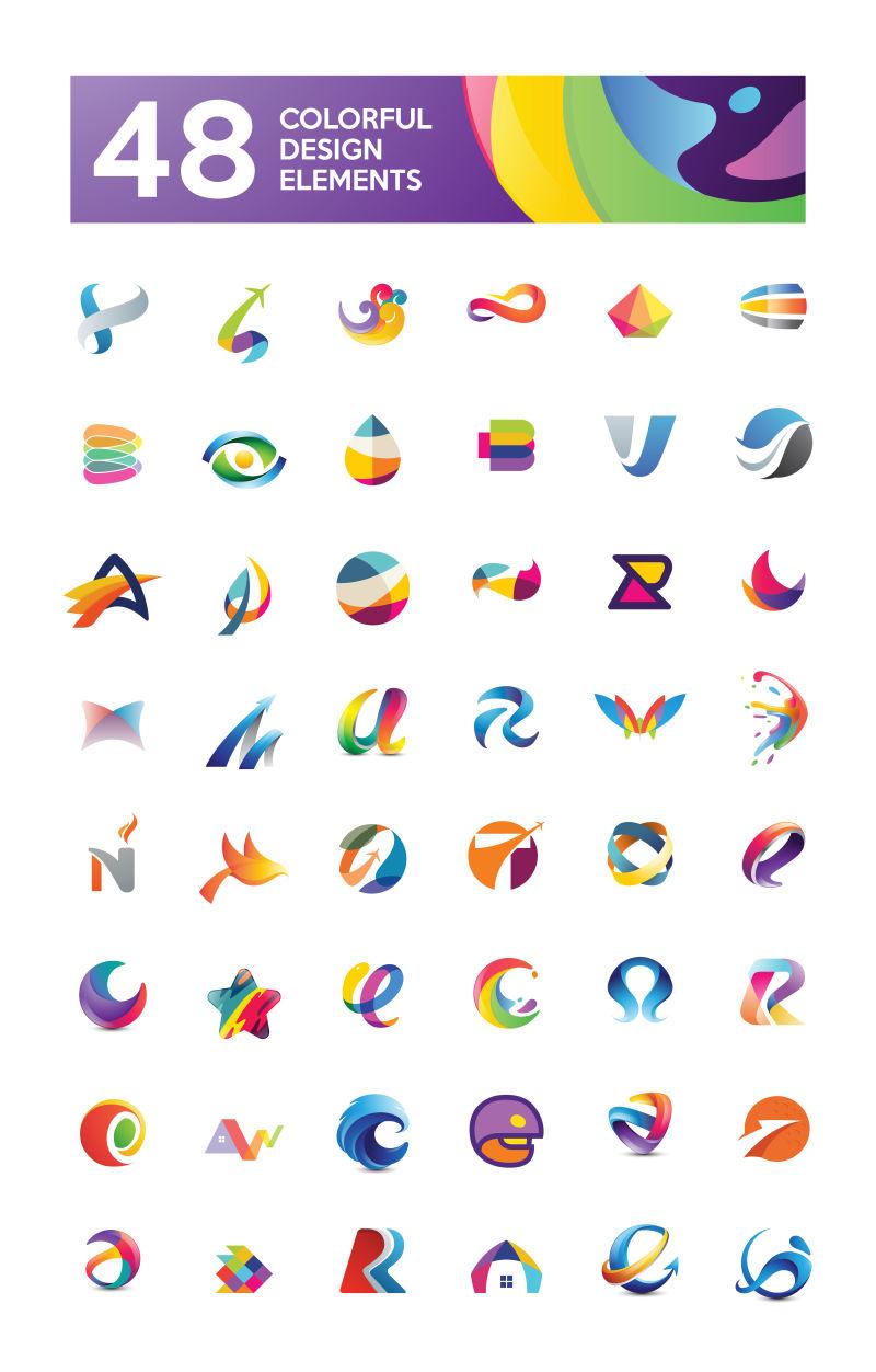 抽象的彩色几何图案矢量标识设计