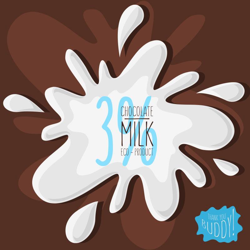 矢量巧克力牛奶飞溅的创意艺术背景