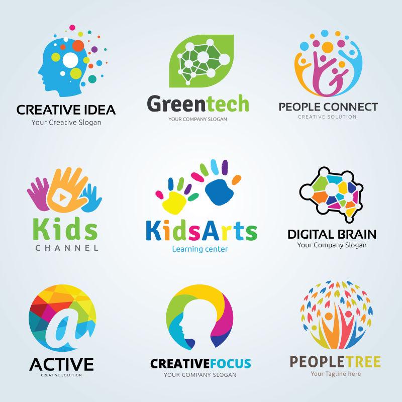 矢量创意儿童教育创意图标设计