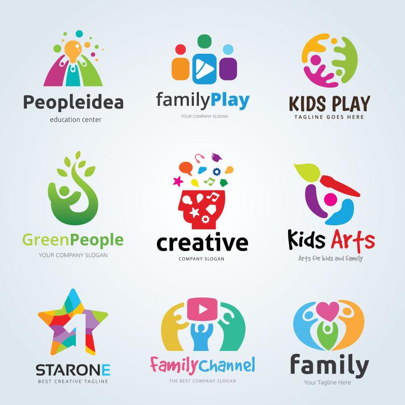 矢量家庭相关的创意图标设计