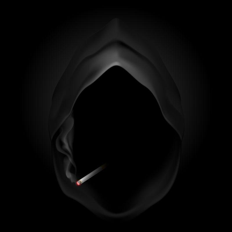 香烟和黑色斗篷矢量插画