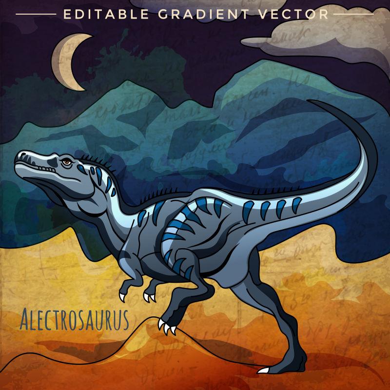 夜出觅食的恐龙矢量插画