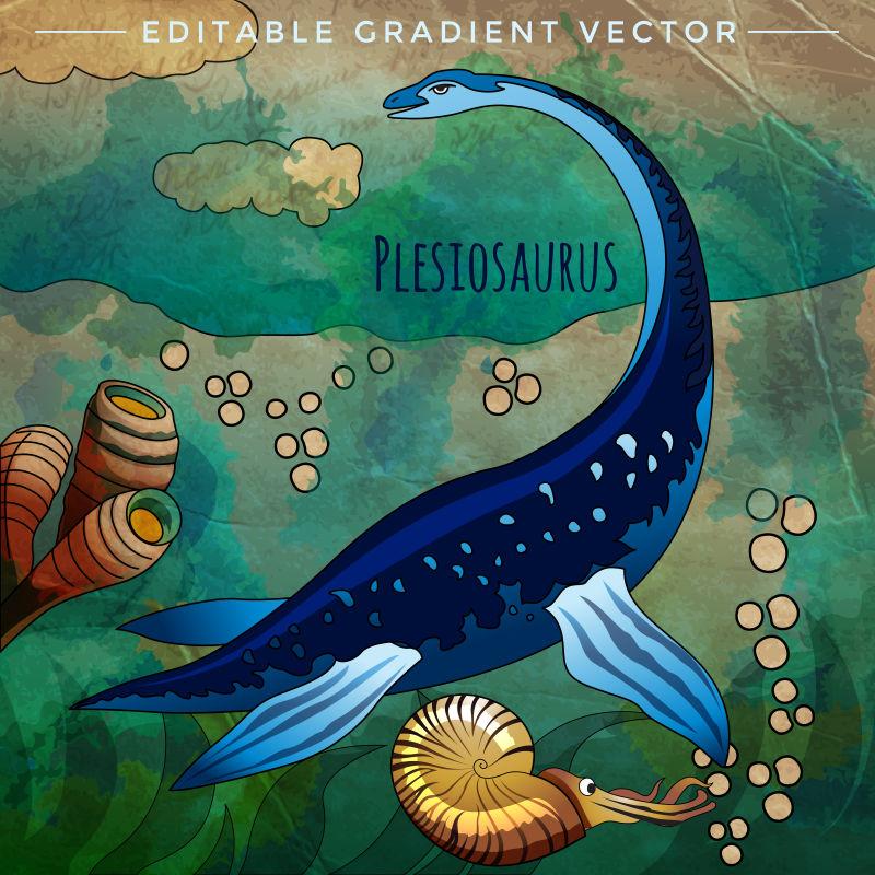 侏罗纪孩海底的蛇颈龙矢量插画