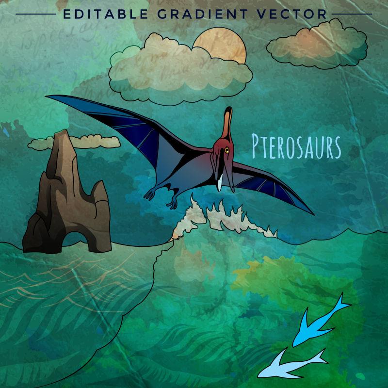 恐龙时代的翼龙矢量插画