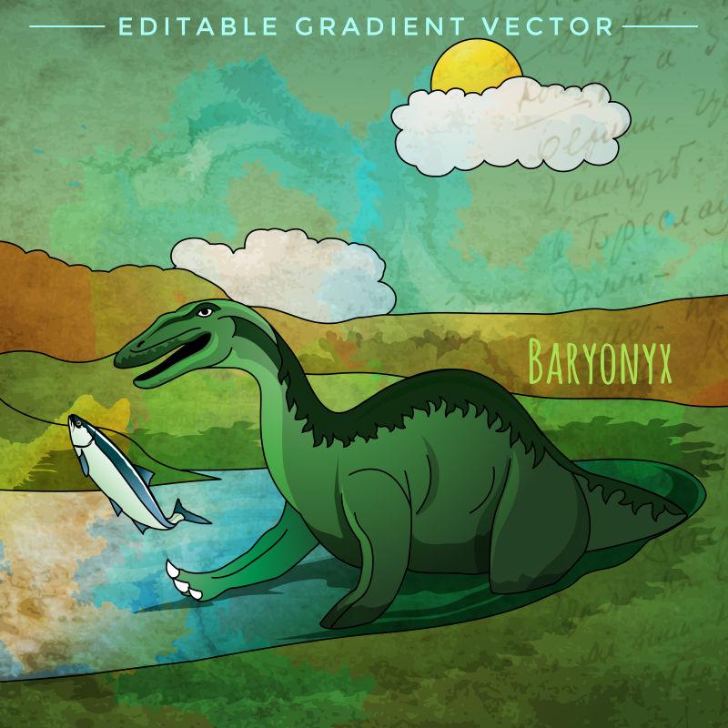 恐龙栖息地的矢量插画