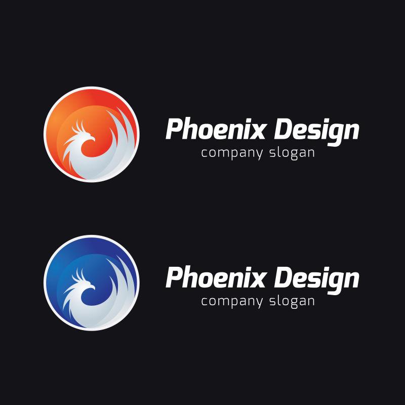 创意矢量凤凰图案的标志设计
