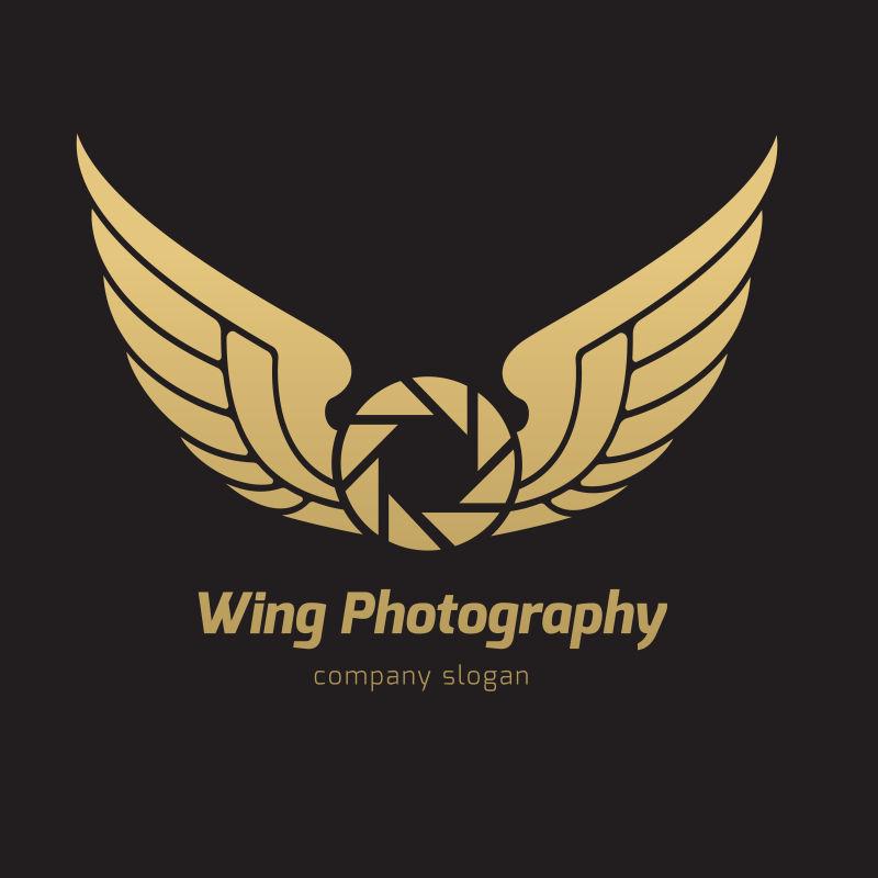 矢量金色有翅膀的摄影标志