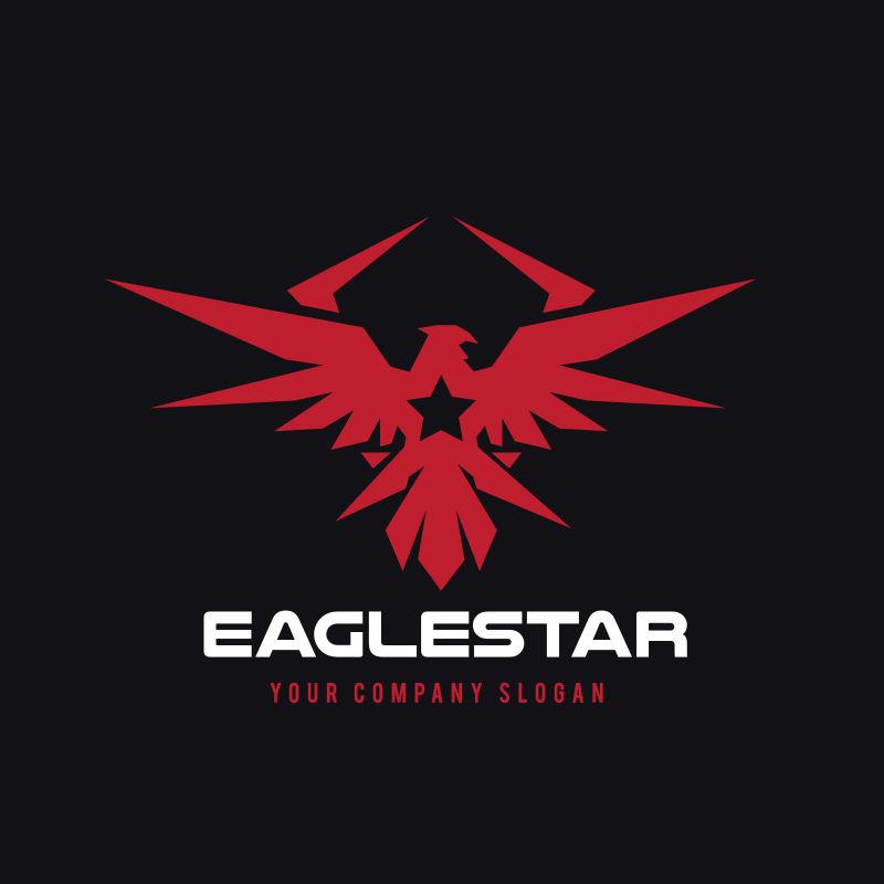 矢量红色老鹰标志设计