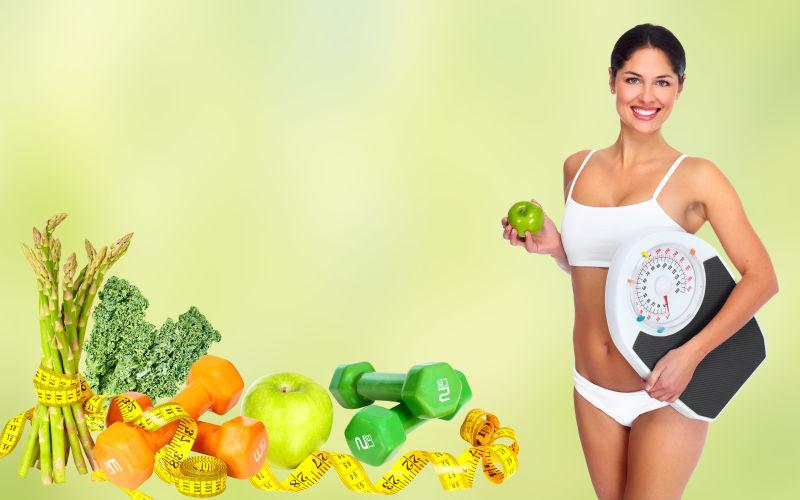 漂亮的美女与蔬果