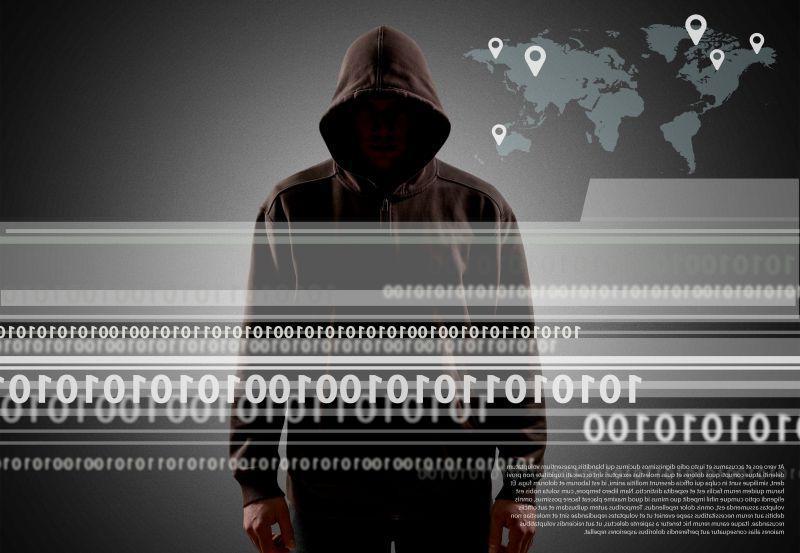 互联网黑客遍布世界和虚拟世界概念