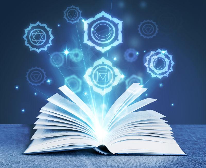 闪烁魔法符号的打开的魔法书