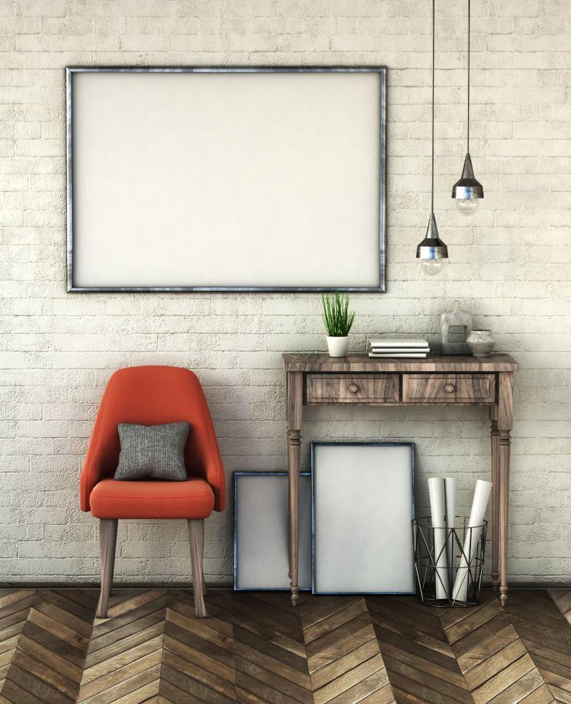 在白色砖墙上模仿海报框架