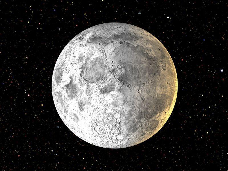 月亮前的三维渲染