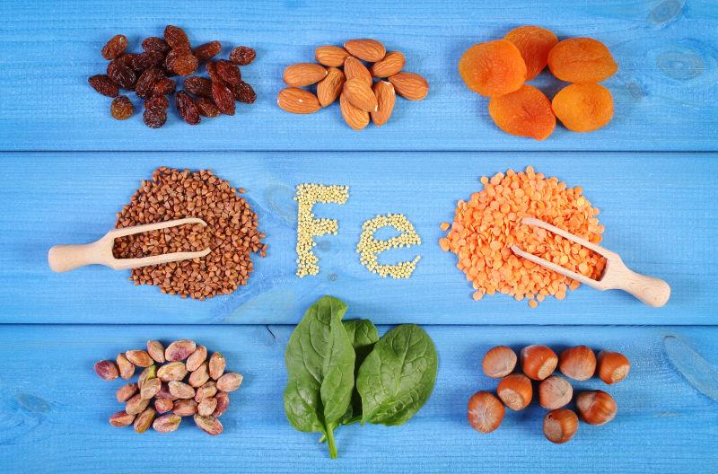 铭文Fe含铁和膳食纤维成分的食材