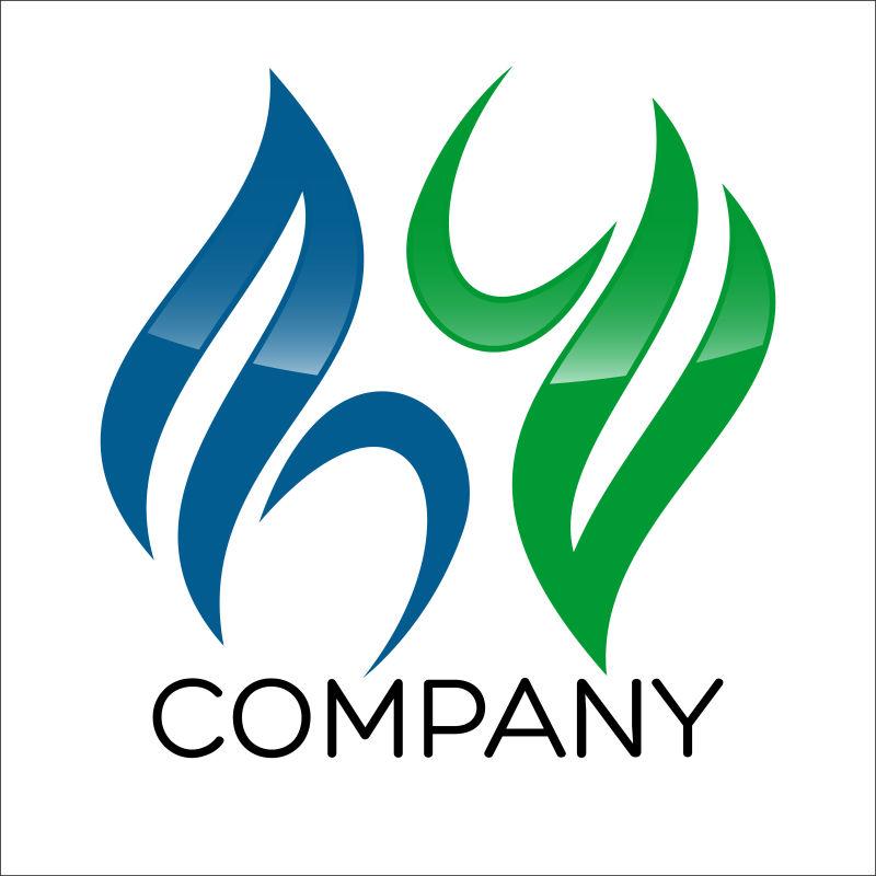 蓝色和绿色线条组成的矢量公司标志