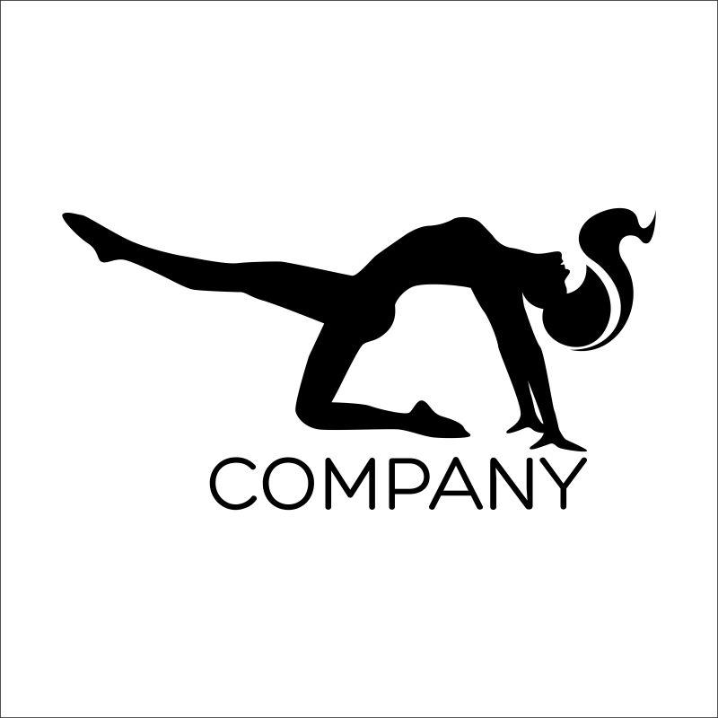 跳舞的女郎形状矢量商标设计