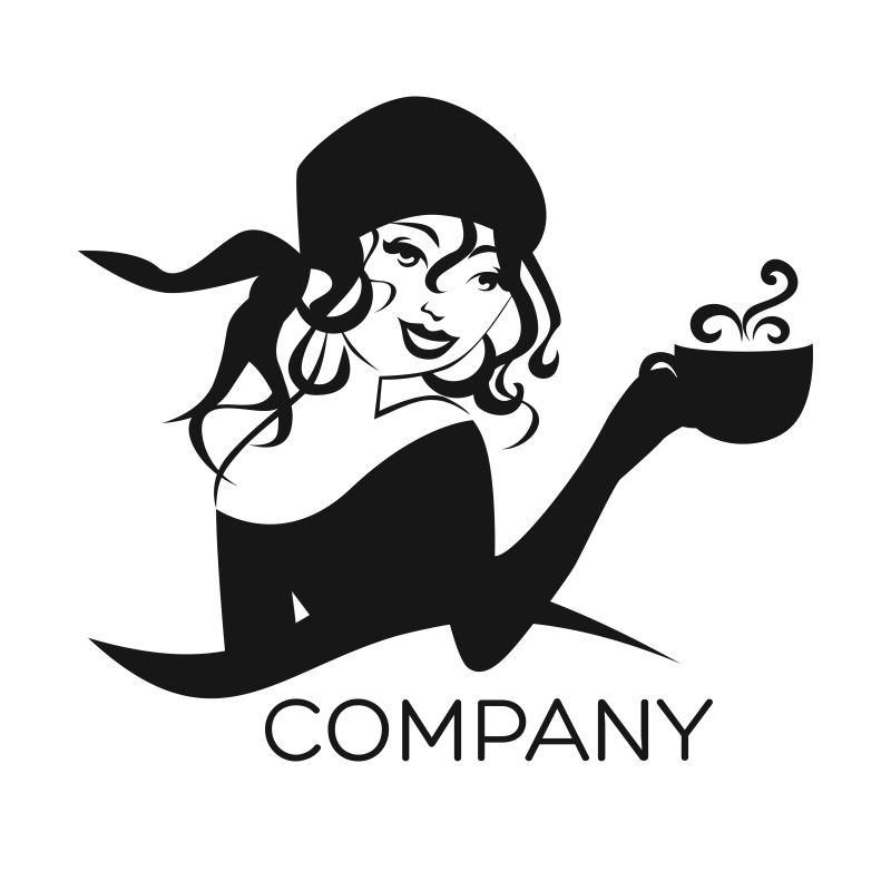 端着咖啡的吉普赛女孩矢量图标
