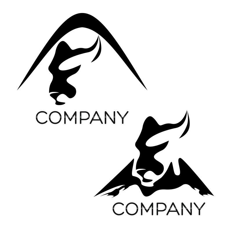 美洲狮和山脉形状的矢量图标设计