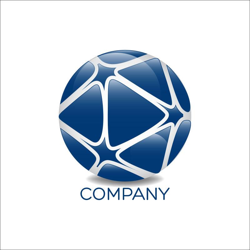 蓝色足球形状图标矢量设计
