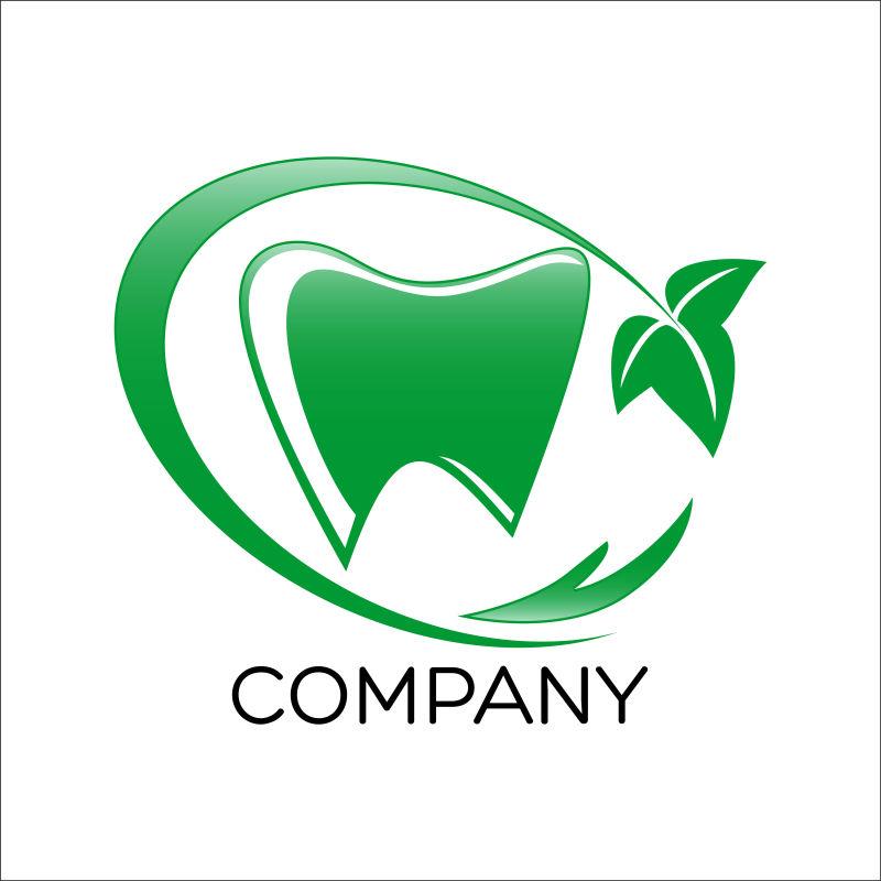 矢量的绿色牙齿形状标签设计