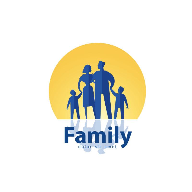 抽象的家庭矢量商标设计