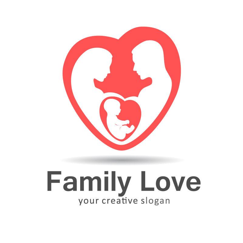 象征家庭的红色心型标志矢量设计
