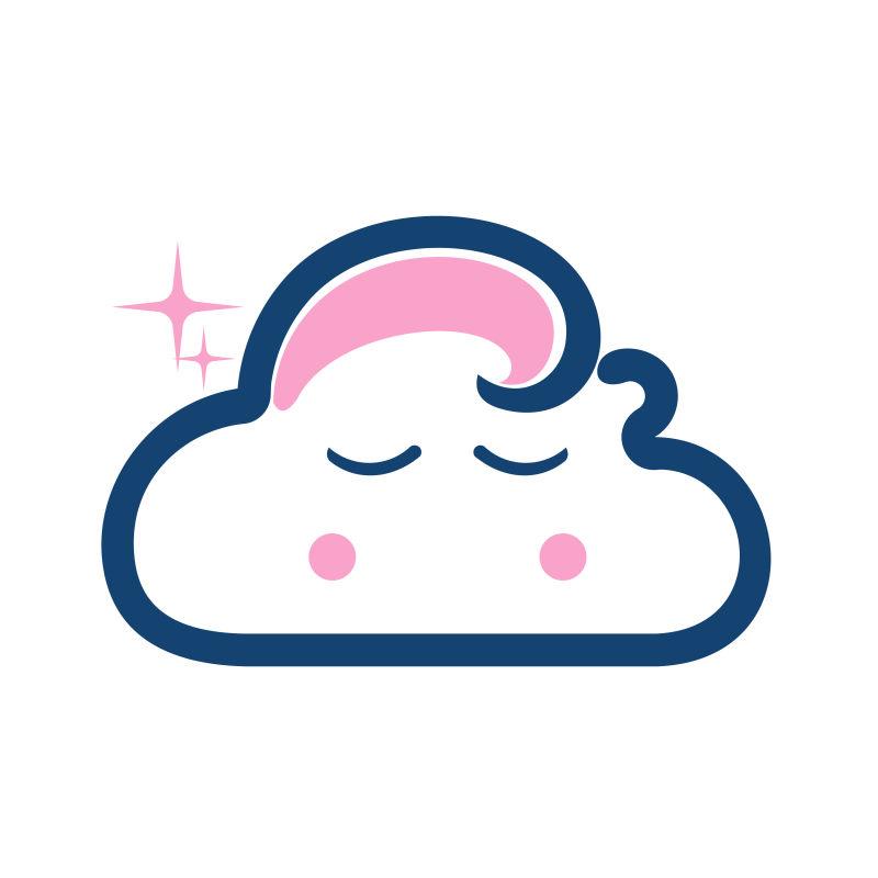 拟人的云朵形状矢量标志
