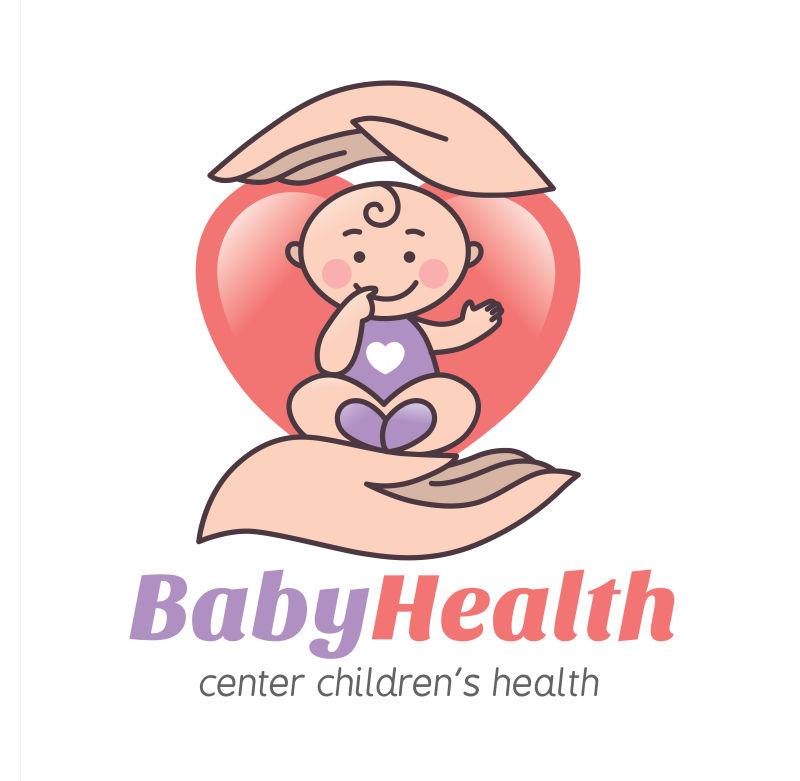 呵护宝宝的手矢量标识