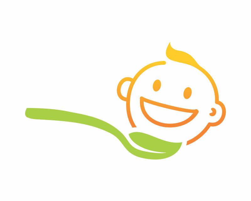 汤匙和婴儿矢量标识设计