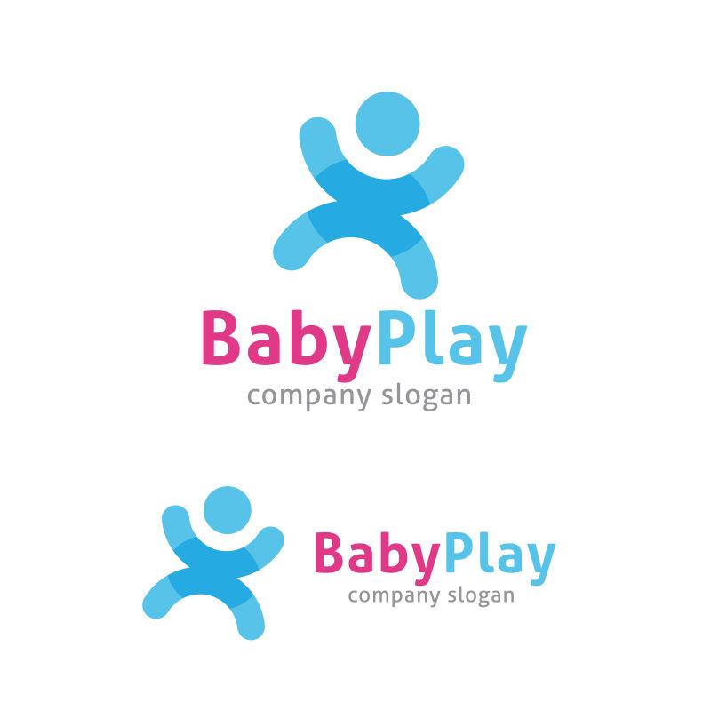 婴儿游戏矢量标识