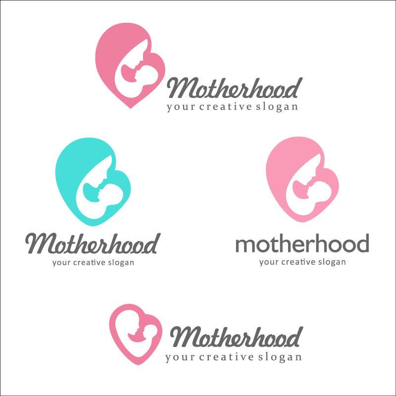 亲吻婴儿的母亲心型矢量标识设计