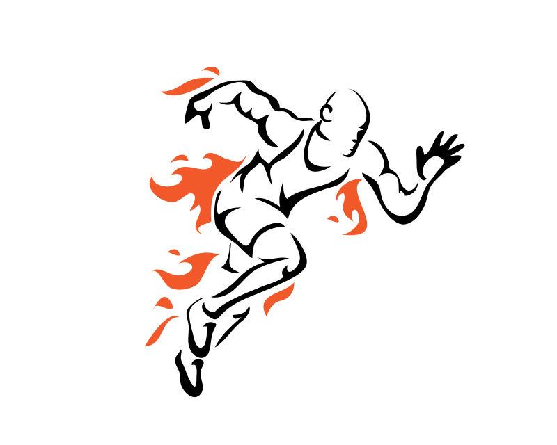 现代创意跑步的矢量线条插图
