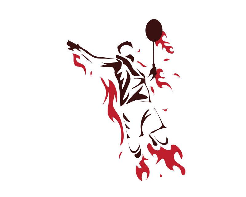 羽毛球运动员轮廓矢量插图设计