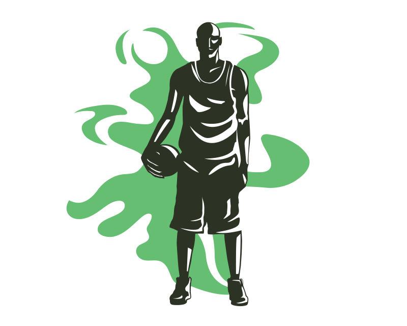 黑色的篮球运动员矢量插图设计