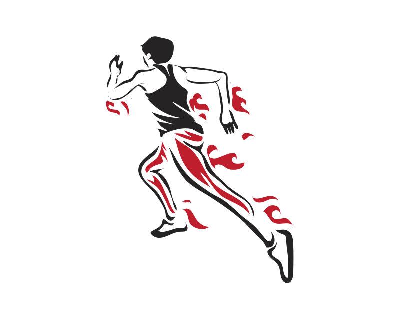 身上燃着火焰向前奔跑的人矢量插图设计