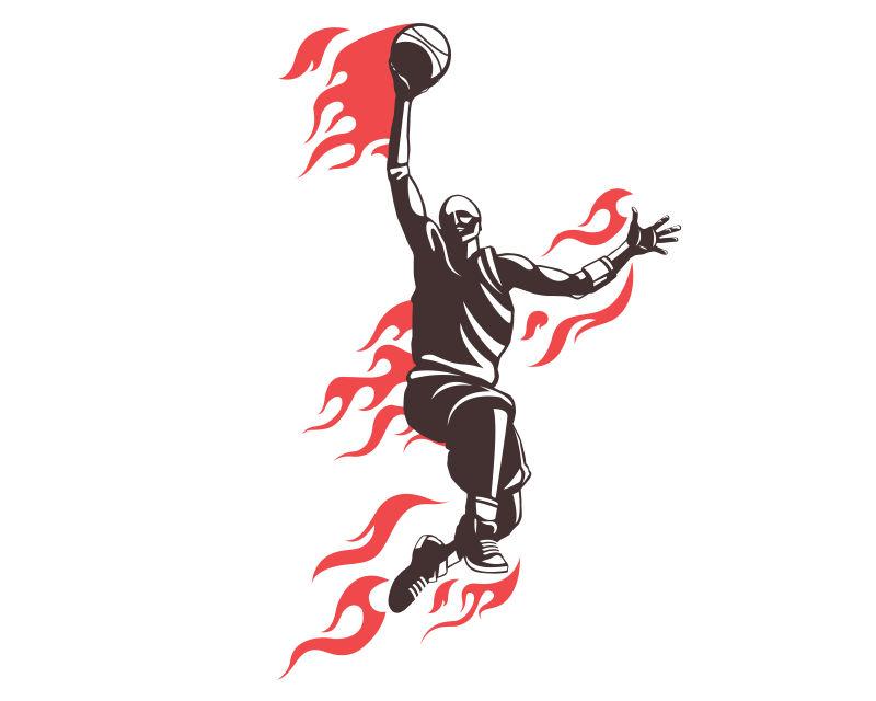 篮球运动员矢量插图设计