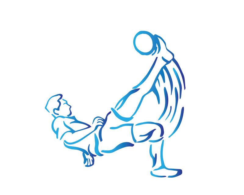 蓝色的足球运动员轮廓矢量插图设计
