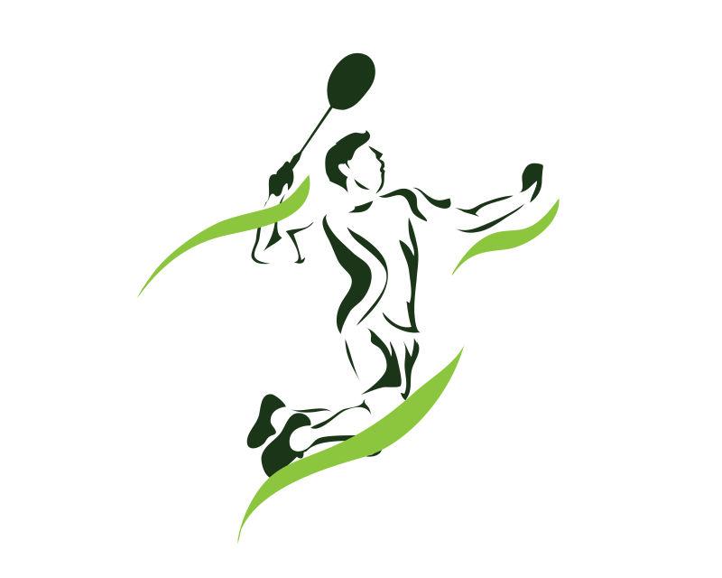 羽毛球运动员矢量插图设计