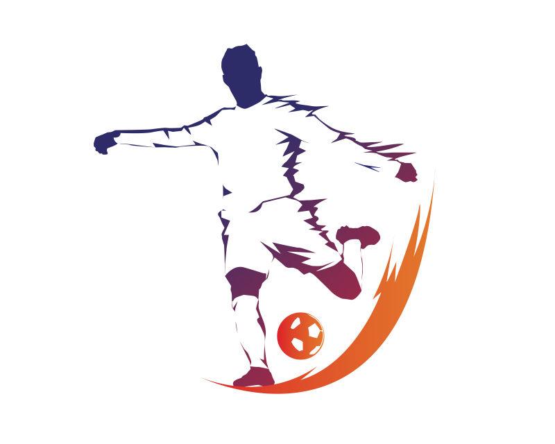 射门的足球运动员矢量插图设计