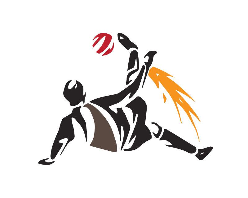 正在射门的足球运动员轮廓矢量插图设计