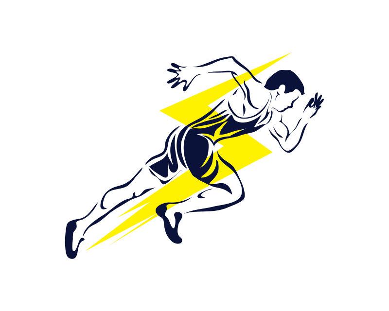 长跑运动员矢量插图设计