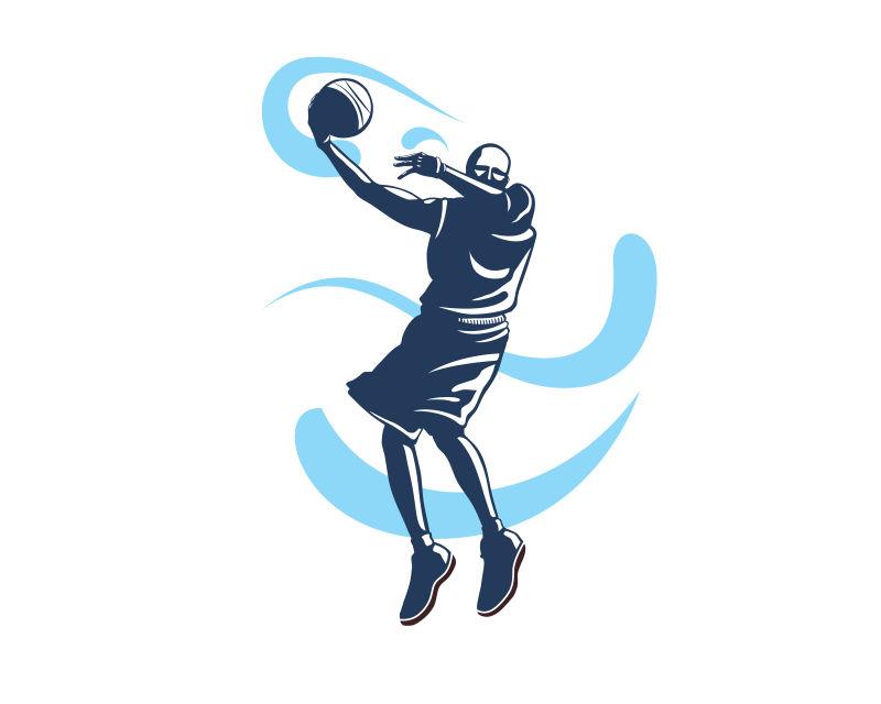 赛场上的篮球运动员轮廓矢量插图设计