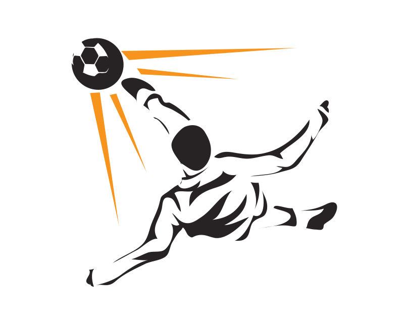 球场上的足球运动员矢量插图设计