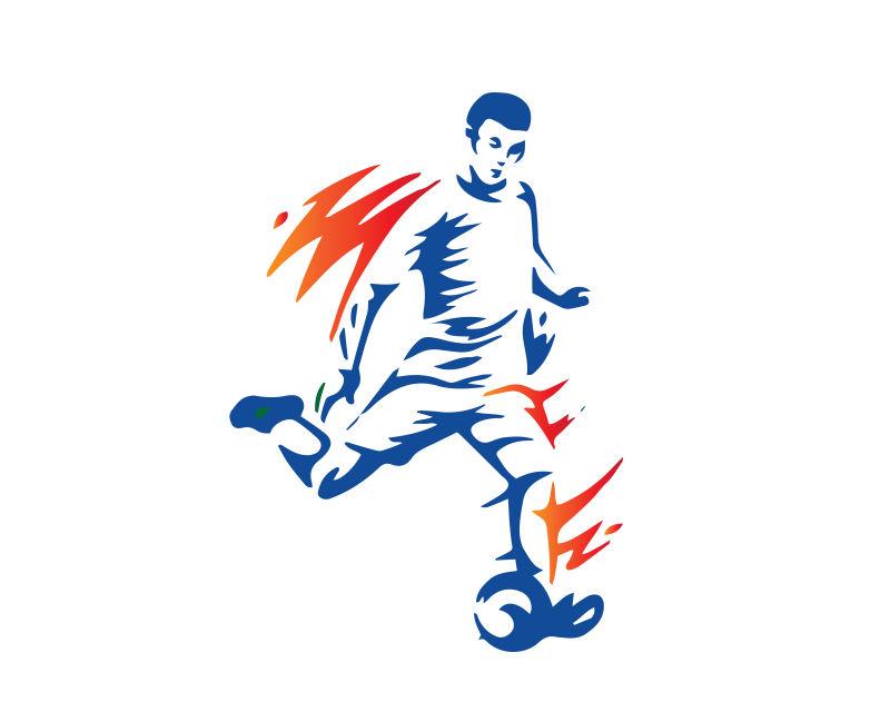 运球的足球运动员矢量插图设计