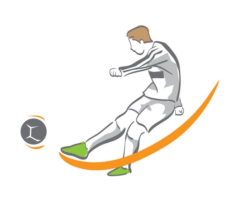 正在踢球的足球运动员矢量插图设计