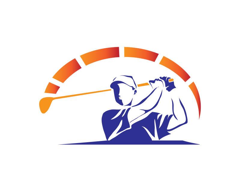 高尔夫运动员轮廓矢量插图设计